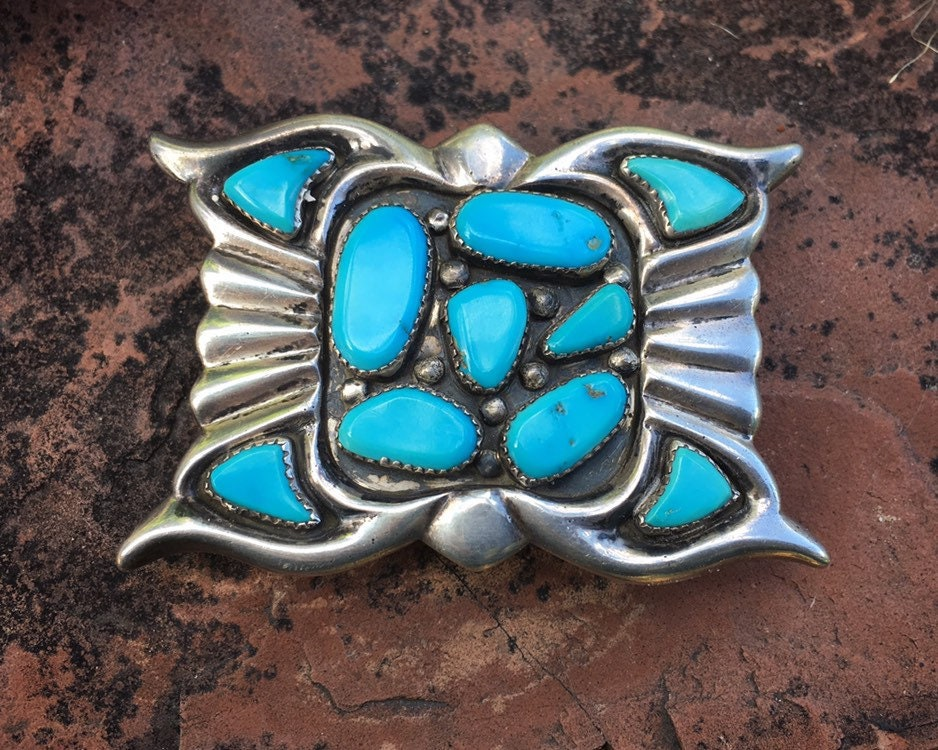 Vintage Signed Zuni Phillip Iule Turquoise Sandcast Silver