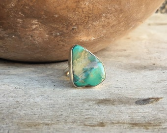 Simple Turquoise Ring for Women Size 7.5 Geometric Ring Sterling Silver Navajo Ring