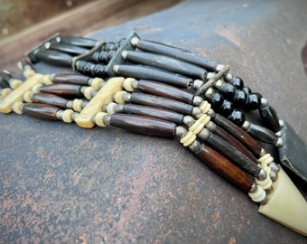 Pair of Bone Hair Pipe Choker with Beads and Leather Tie, Lakota Sioux Native American Style