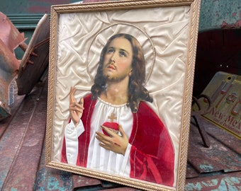 Vintage Jesus Christ Sacred Heart Homemade Fabric Wall Hanging, Altar Ready Art, Unconditional Love