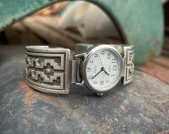 "80g Sterling Silver Women's Watch Bracelet ""Navajo Rug"" by Navajo Dan Jackson, Native American"