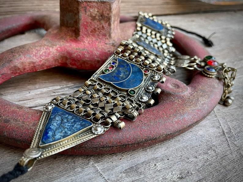 Blue Gemstone Large Vintage Lapis Lazuli Ethnic Choker for Women Girlfriend Gift Kuchi Tribal Afghani Jewelry Boho Chic Hippie Necklace