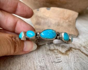 Child's Turquoise Raised Bezel Bracelet Vintage, Baby Baptism Gift from Godparents