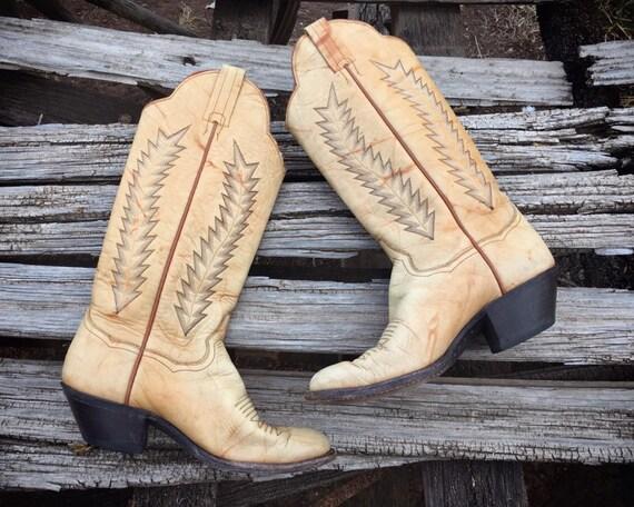 Vintage Tan Leather Cowboy Boots Women