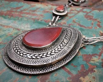 Vintage Uzbek Huge Traditional Silver Pendant Necklace Tribal, Ethnic Afghani Statement Boho