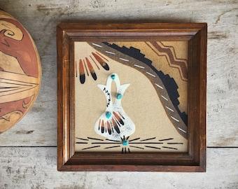 Framed Navajo Sand Painting Wedding Vase and Navajo Rug, Southwestern Wall Decor, Native American Indian Art, Wedding Gift for Newlyweds