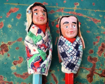 Rare 1950s Pencil Toppers in Form of Native American Woman and Man, Vintage Americana