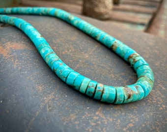 "Vintage Turquoise Heishi Necklace Choker 19-20"", Santo Domingo Pueblo Native American Jewelry"