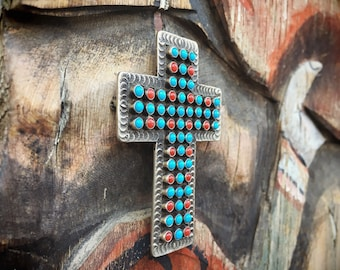 Signed Navajo Cross Coral Turquoise Pendant Brooch Native American Indian Jewelry