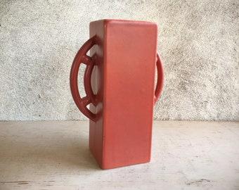 Rare Abingdon Art Pottery Wheel Handle Vase Number 466 in Mauve Pink Rectangular Form