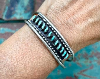 Dainty 1950s Zuni Needlepoint Turquoise Cuff Bracelet for Women, Vintage Native American Jewelry