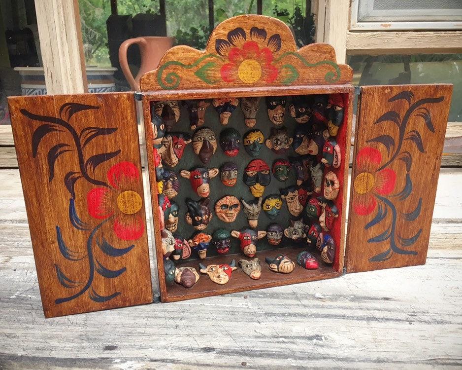 Vintage Three Dimensional Mask Maker S Shop Retablo Peruvian Folk Art Maskmaker Workshop Diorama