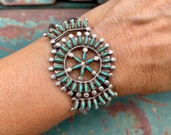 1960s Zuni Natural Turquoise Cuff Bracelet Needlepoint Setting, Native American Indian Jewelry