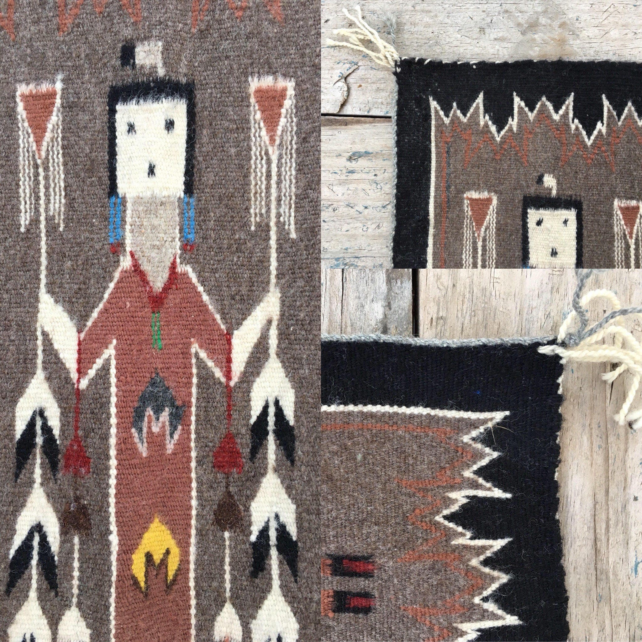 Navajo Yei Rug Woven Wall Hanging Southwestern Wall Decor