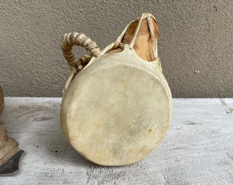 Small Natural Wood Shape Native American Indian Log Drum with Hide Top Tether Handle, Taos Drum