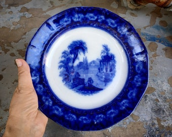 """Antique Flow Blue Ironstone Plate Excelsior Pattern 9.25"""" Circa 1840s Thomas Furnival Pottery"""