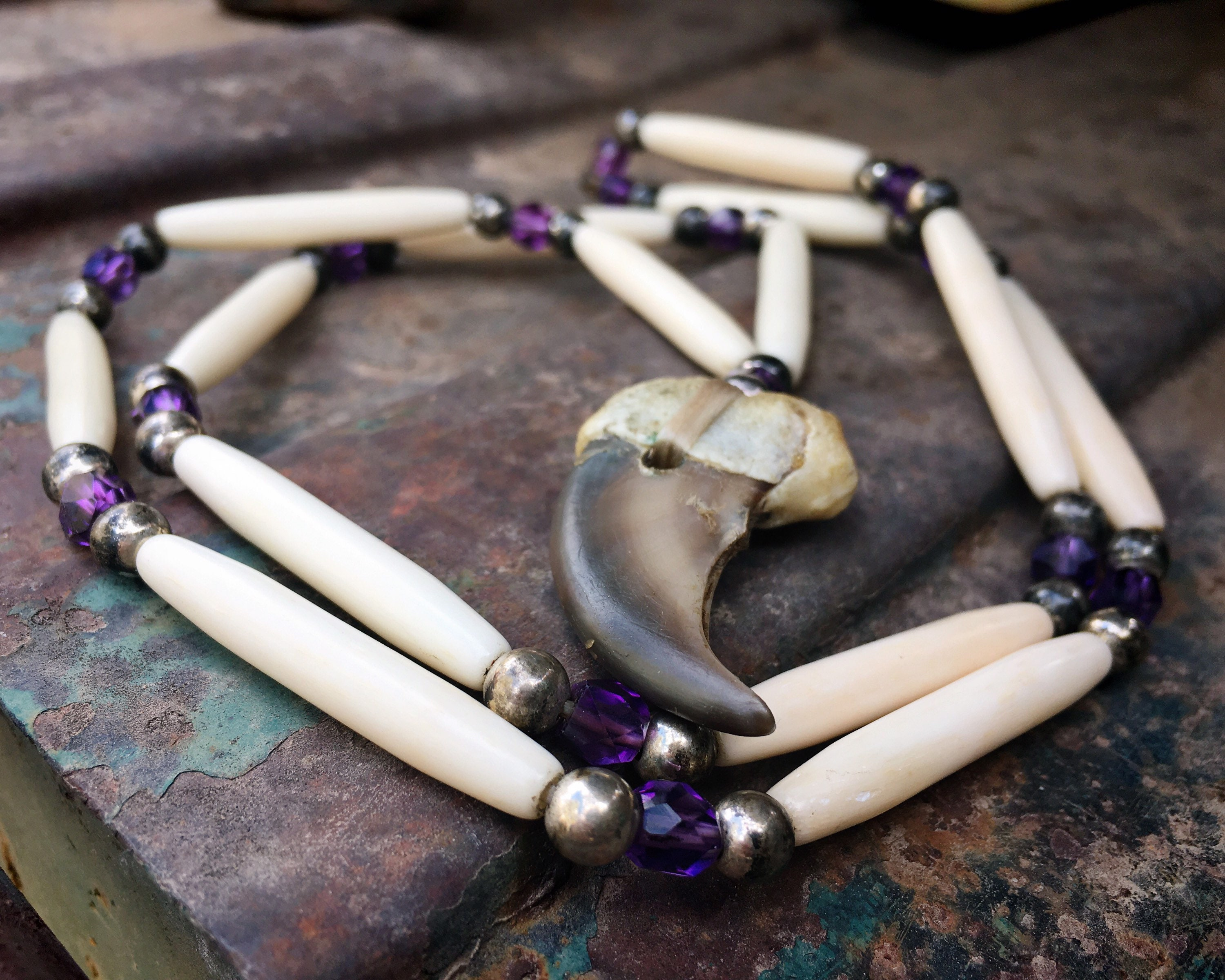 Vintage Bear Claw Necklace With Trade Beads Strung On Sinew Native American Indian Jewelry Unisex