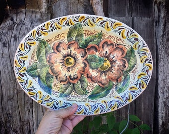 """Vintage 13"""" Mexican Pottery Decorative Platter with Roses, Guanajuato Mexico Plates Wall Art"""
