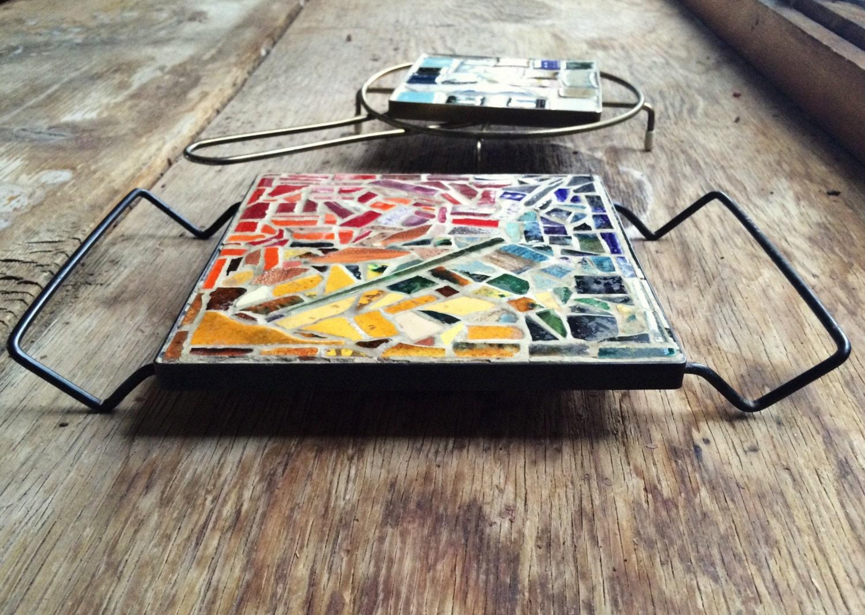 Pair Of Midcentury Modern Mosaic Tile Metal Trivets Vintage Tile