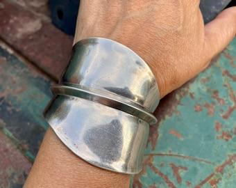 70g Huge Sculptural Sterling Silver Cuff Bracelet by Navajo Mary Rita Padilla, Flowing Bangle