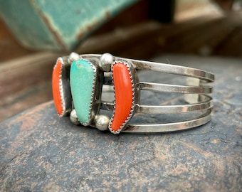48g Vintage Split Wire Shank Turquoise and Coral Silver Bracelet, Native American Indian Jewelry