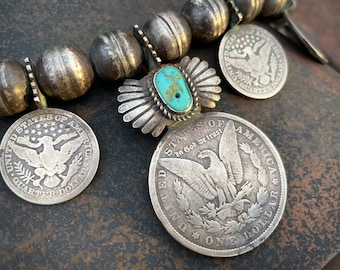 203g Navajo Coin Squash Blossom Necklace with 1879 Morgan Silver Dollar & Antique Turquoise