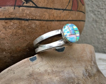Heavy Sterling Silver Synthetic Opal Modernist Ring Size 10, Contemporary Native American Jewelry