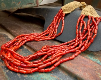 Sherpa Coral Multi Strand Naga Necklace Made with Czechoslovakian Red Spun Glass Beads
