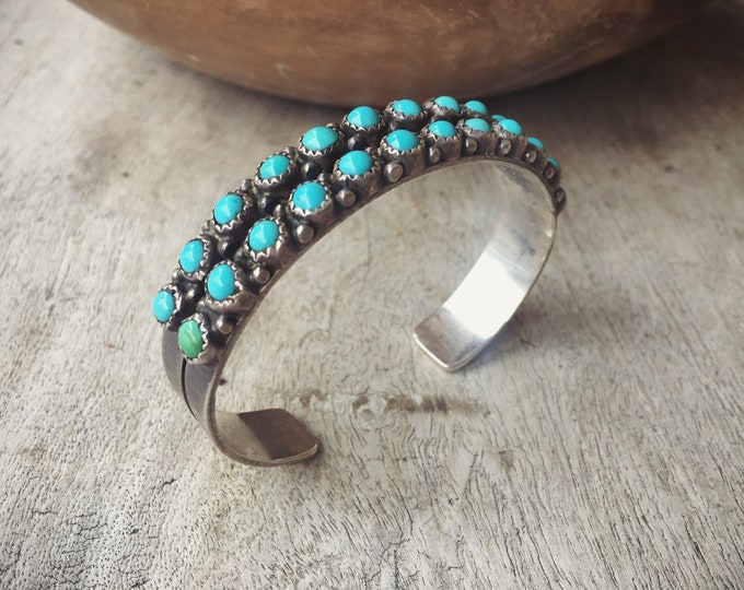 Featured listing image: Old Pawn Turquoise Cuff Bracelet Double Row Snake Eye, Native American Indian Jewelry