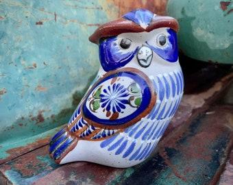 Tonala Mexico Pottery Owl Statue with Ornate Blue Designs, Mexican Folk Art, Southwestern Decor
