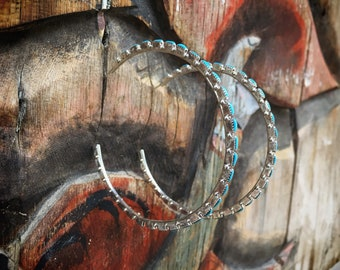 Large Zuni Silver Turquoise Hoop Earrings Native American Jewelry, Real Turquoise Jewelry