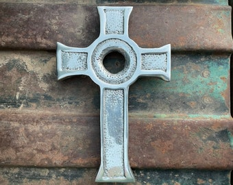 Small Mexican Pewter Metal Cross with Circle Wall Hanging, Rustic Patio Gate Southwest Home Decor