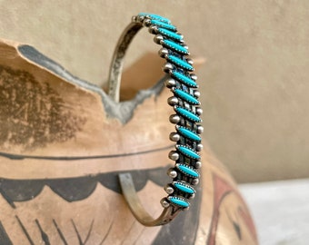 Dainty Bell Trading Needlepoint Turquoise Cuff Bracelet, Native American Indian Style Jewelry