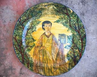 "Large 15"" Mexican Majolica Pottery Decorative Wall Plate from Guanajuato, Southwestern Decor"