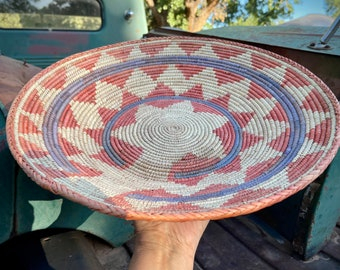 Faded and Stained Shallow Woven Basket, Bohemian Southwestern Decor, Native Style Coiled Woven