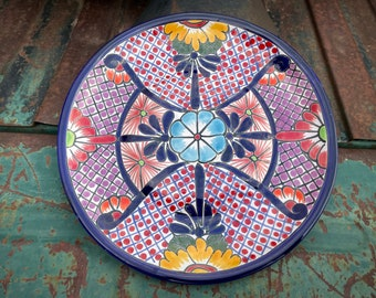 """10"""" Mexican Talavera Plate Wall Hanging Blue Purple, Rustic Southwestern Home Decor, Pottery Folk Art Boho Eclectic Mexican Table Patio"""