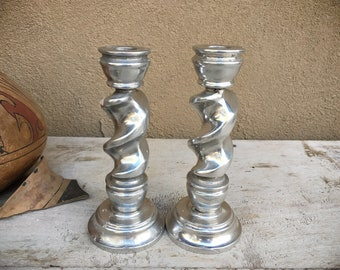 Pair of Pewter Swirl Candlestick Holders Candleholders, Rustic Modern Home Decor, Christmas Decoration