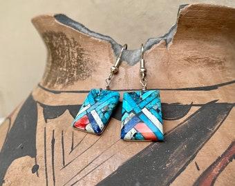 Multi Stone Turquoise Shell Slab Inlay Earrings, Santo Domingo Native American Jewelry