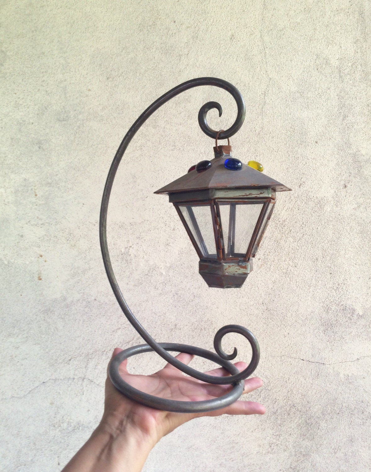 Vintage Tabletop Hanging Candle Lantern And Stand