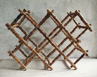 Vintage Burnt Bamboo Wine Rack Tabletop 10 Bottle, Jungalow Style, Wine Gift, Wine Holder
