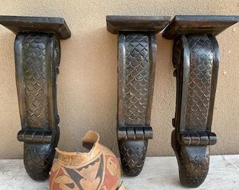 Set of Three Vintage Heavy Carved Wood Corbel Shelves, Architectural Salvage, Hacienda Decor