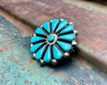 Vintage Turquoise Petit Point Cluster Pendant Brooch by Navajo Benson Yazzie, Native American