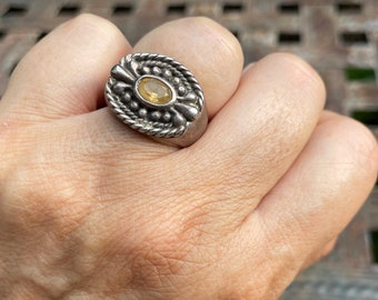 Heavy 925 Sterling Silver Citrine Ring Size 6.75, Men's Women's Unisex Jewelry, Pale Yellow Gemstone, November Birthday Gift for Leo Zodiac