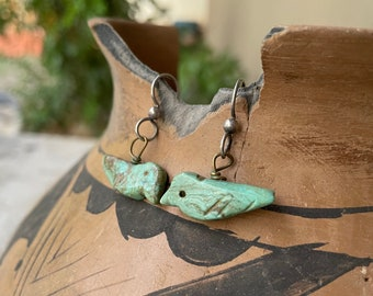 Vintage Turquoise Bird Fetish Dangle Earrings for Women, Native American Indian Jewelry