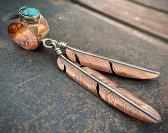 Turquoise Pendant with Copper Sterling Silver Feather Dangles, Native American Jewelry Southwest