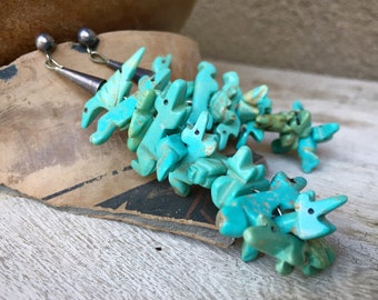 Stacked Carved Turquoise Animal Fetish Earrings by Zuni Navajo Johnny Sheyka, Authentic Native American Indian Jewelry, Anniversary Gift Her
