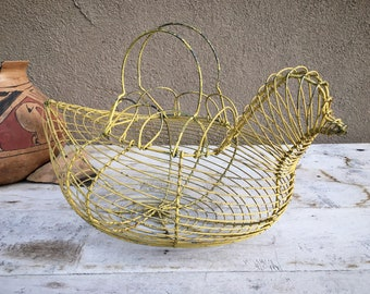 Chippy Yellow Painted Metal Wire Chicken Shaped Egg Gathering Basket, Rustic Primitive Decor