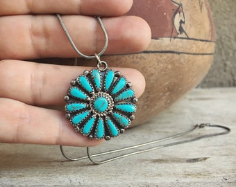 Turquoise Pendant Necklace for Women Native American Indian Jewelry, Turquoise Necklace