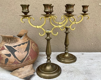 Pair of Two-Tone Brass Metal Candelabra Gothic Style Candle Holder Centerpiece, Victorian Wedding