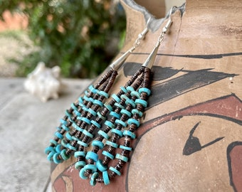Double-Strand Loops Earrings Turquoise Beads with Heishi, Native American Indian Jewelry